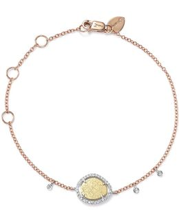 White And Rose Gold Diamond Scratch Disc Bracelet