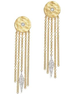 14k White And Yellow Gold Disc And Fringe Earrings With Diamonds