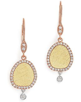 Yellow And Rose Gold Dangle Earrings With Diamonds