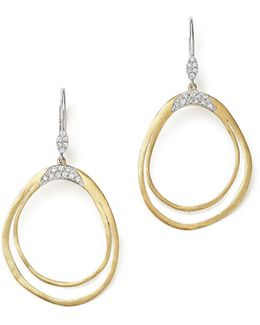 14k White And Yellow Gold Open Pear Dangle Earrings With Diamonds