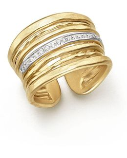 14k Yellow Gold Multi-band Open Ring With Diamonds