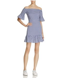 Heidi Gingham Off-the-shoulder Ruffled Dress