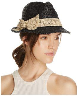 Crochet Packable Stripe Fedora Hat