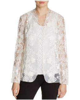 Tori Embroidered Open Front Jacket