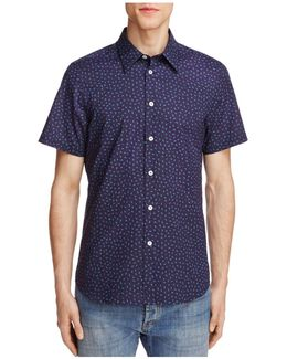 Moon Print Slim Fit Button-down Shirt