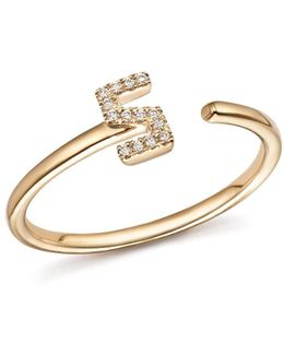Diamond Initial Ring In 14k Yellow Gold