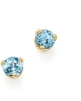 14k Yellow Gold Aquamarine Stud Earrings