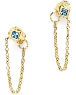 14k Yellow Gold Draped Chain Stud Earrings With Aquamarine