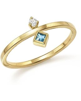 14k Yellow Gold Wire Ring With Stacked Aquamarine And Diamond