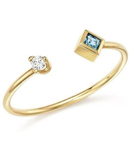 14k Yellow Gold Stacking Ring With Diamond And Aquamarine