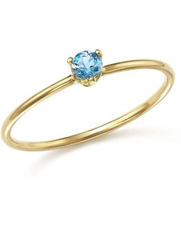 14k Yellow Gold Stacking Ring With Aquamarine Stacking Ring