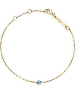 14k Yellow Gold Aquamarine Charm Bracelet