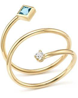 14k Yellow Gold Diamond And Aquamarine Wrap Ring