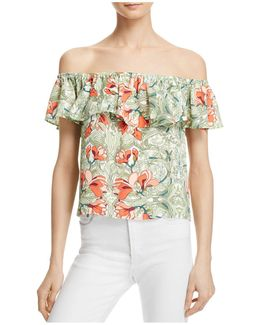 Floral Off-the-shoulder Ruffle Top