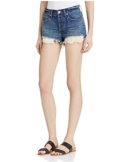Daisy Chain Crochet-detail Denim Shorts