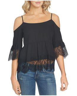 Cold Shoulder Lace Trim Blouse