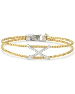 Diamond Yellow Cable Dual Strand Bangle