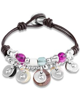 Neritidae Beaded Charm Leather Bracelet