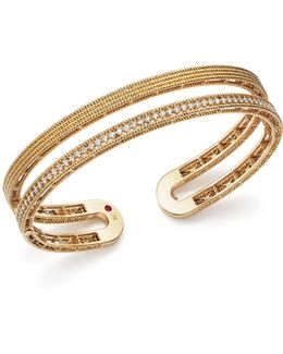 18k Yellow Gold Symphony Pavé Diamond Double Cuff