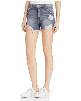 Bella Distressed High Rise Denim Shorts In Enni