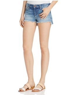 Step-hem Denim Shorts In Yoselyn