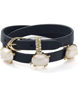 Embellished Leather Wrap Bracelet