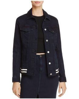 Jeans Rib-trim Trucker Denim Jacket