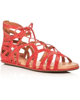Break My Heart Snake-embossed Lace Up Sandals