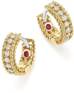 18k White And Yellow Gold Symphony Princess Diamond Hoop Earrings