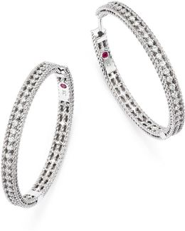 18k White Gold Symphony Barocco Diamond Hoop Earrings