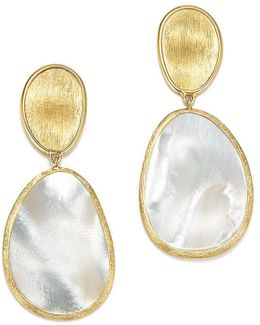 18k Yellow Gold Lunaria Mother Of Pearl Two Drop Earrings