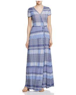 Mosaic Print Maxi Wrap Dress