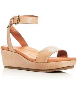 Morrie Nubuck Leather Ankle Strap Platform Wedge Sandals