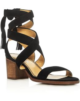 Janet Crisscross Ankle Strap Block Heel Sandals