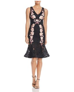 Floral Embroidered Lace Midi Dress