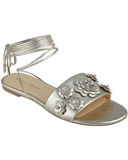 Catera Metallic Floral Ankle Wrap Sandals