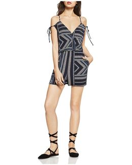 Geo-stripe Cold-shoulder Romper