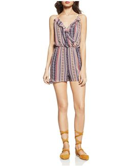 Striped Faux-wrap Romper