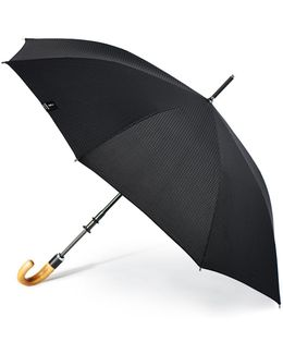 Stratus Chrome Stick With Wood Crook Handle Umbrella