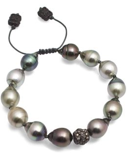 Old World Midnight Tahitian South Sea Pearl And Champagne Diamond Beaded Cord Bracelet