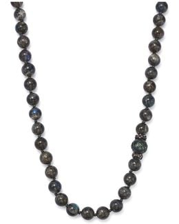 Carved Tahitian South Sea Black Pearl And Champagne Diamond Necklace