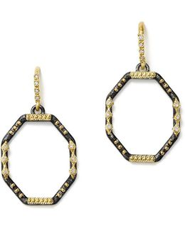 18k Yellow Gold And Blackened Sterling Silver Old World Diamond Octagon Drop Earrings