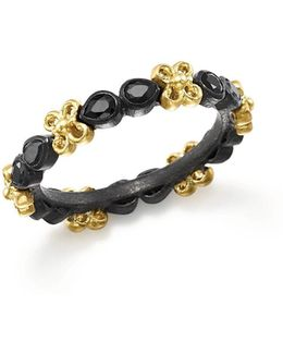 18k Yellow Gold And Blackened Sterling Silver Old World Black Sapphire Stacking Ring
