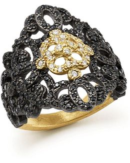 18k Yellow Gold And Blackened Sterling Silver Old World Filigree Diamond And Black Sapphire Ring