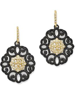 18k Yellow Gold And Blackened Sterling Silver Old World Diamond And Black Sapphire Filagree Earrings