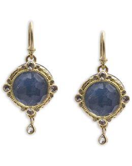White Sapphire And Diamond Drop Earrings