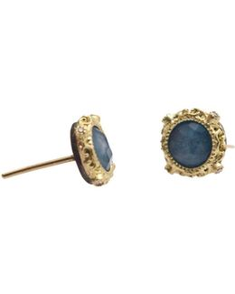 18k Yellow Gold And Sterling Silver New World Blue Quartz Triplet And Diamond Earrings