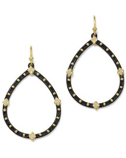 18k Yellow Gold And Blackened Sterling Silver Old World Pear Diamond Drop Earrings