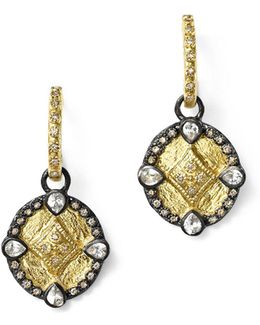 18k Yellow Gold And Blackened Sterling Silver Old World Diamond Oval Shield Drop Earrings