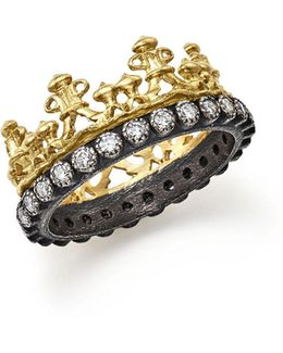 18k Yellow Gold And Blackened Sterling Silver Old World Half Crown Diamond Ring